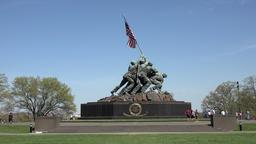 Washington United States Marine Corps War Memorial aircraft 4K Footage