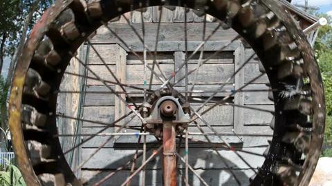 Water wheel spokes P HD 1968 Footage