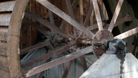 Water wheel steel close spokes P HD 1975 Footage