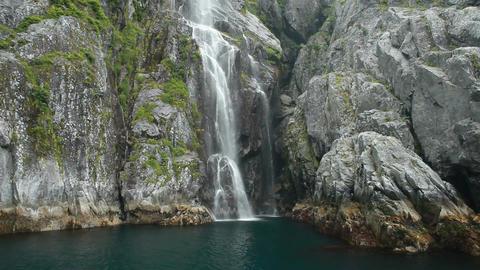 Waterfall rainforest fjord Alaska P HD 8369 Footage