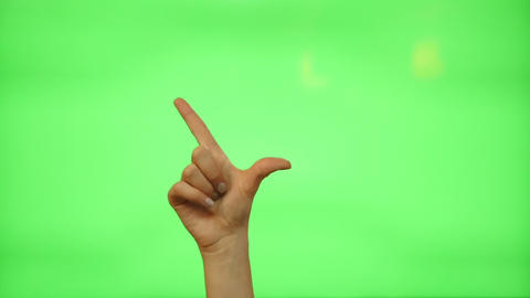 5 touchscreen gestures - female hand for transparent screen - green screen Footage