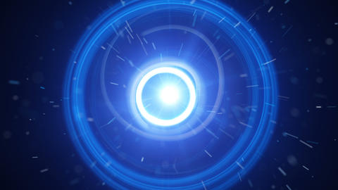 Blue dynamic light circles and particles seamless loop Animation