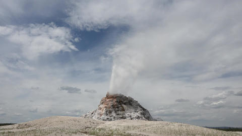 White Dome Geyser Eruption Yellowstone National Park 4K Footage