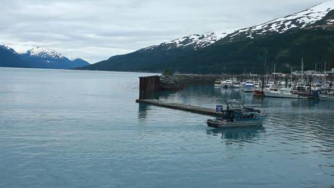 Whittier Alaska boat marina evening P HD 8102 Footage