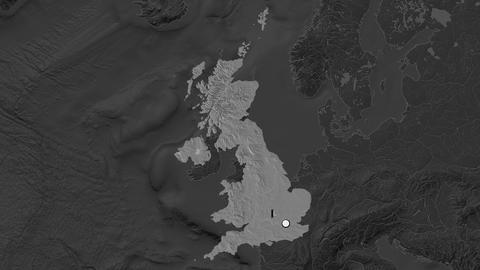 United Kingdom and capital circled and zoomed. Bilevel Animation