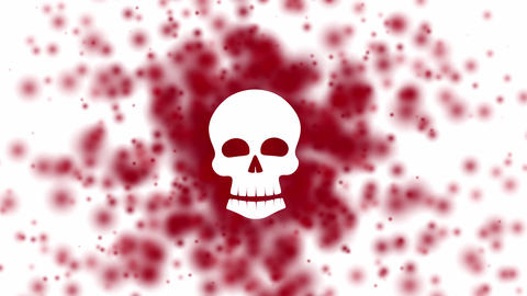 human skull with scattered red viruses on background, health hazard concept Animation