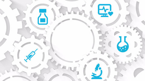 medical motion background hospital concept with microscope flask injection and medication icons with Animation
