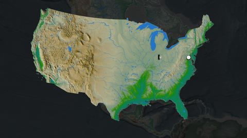 United States Mainland and capital circled and zoomed. Physical Animation