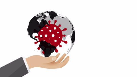 coronavirus with planet earth in human hand searching for solution to medical problem motion Animation