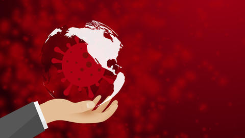 covid-19 coronavirus in human hand concept of a global pandemic with a turning earth globe on a red Animation