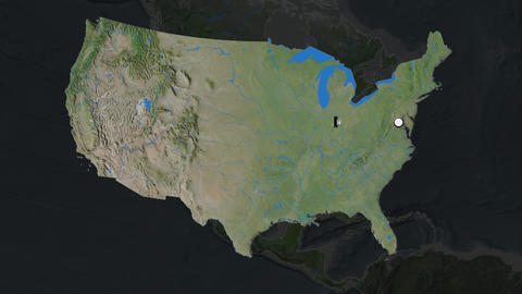United States Mainland and capital circled and zoomed. Satellite Animation