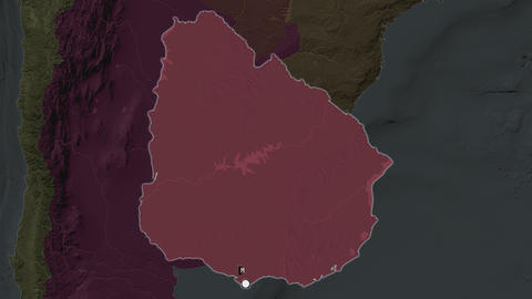 Uruguay and capital circled and zoomed. Administrative Animation