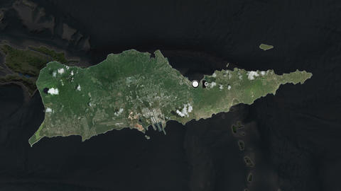 Us Virgin Islands St Croix and capital circled and zoomed. Satellite Animation