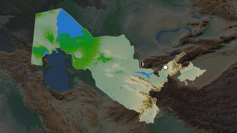 Uzbekistan and capital circled and zoomed. Physical Animation
