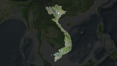 Vietnam and capital circled and zoomed. Satellite Animation