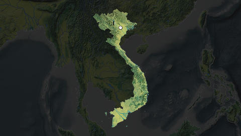 Vietnam and capital circled and zoomed. Topographic Animation