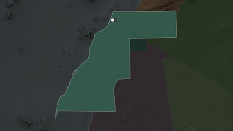 Western Sahara and capital circled and zoomed. Administrative Animation