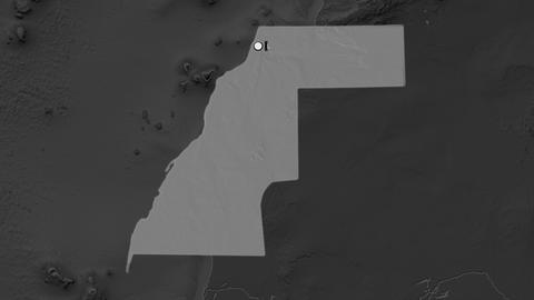 Western Sahara and capital circled and zoomed. Bilevel Animation