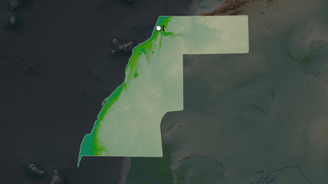 Western Sahara and capital circled and zoomed. Physical Animation