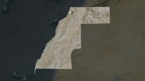 Western Sahara and capital circled and zoomed. Satellite Animation