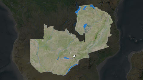 Zambia and capital circled and zoomed. Satellite Animation