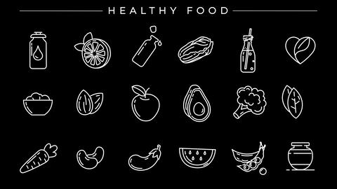 Healthy Food concept line style icons set Live Action