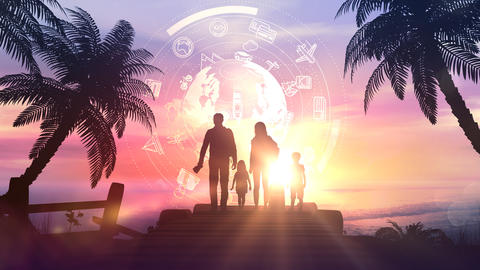 Family silhouettes on a tropical sunset background Videos animados