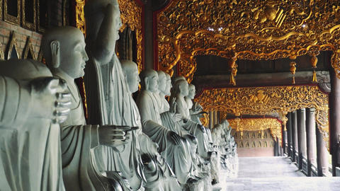 Big statues at Bai Dinh Temple Spiritual and Culture Complex in Ninh Binh Live Action