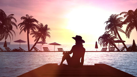Lonely female silhouette on a background of sea sunset Videos animados