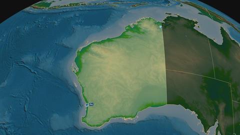 Western Australia - state of Australia. Physical Animation