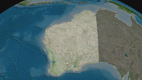 Western Australia - state of Australia. Satellite Animation
