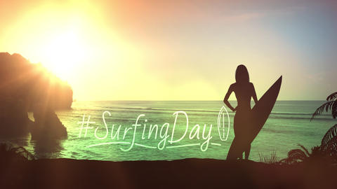 Silhouette of a girl with a surfboard on a sunset background Videos animados