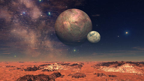 Two Moons Over Alien Landscape Animation
