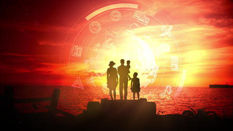 Silhouette of a family on a background of red sunset Videos animados