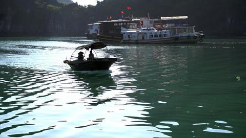 Small Boats In Halong Bay. Cat Ba. Vietnam Acción en vivo