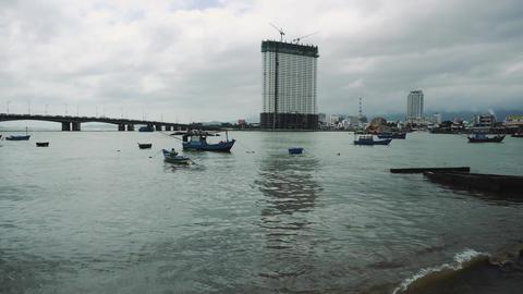 Fishing Boat At Anchor Off Poor Village In Nha Trang. 4K Acción en vivo