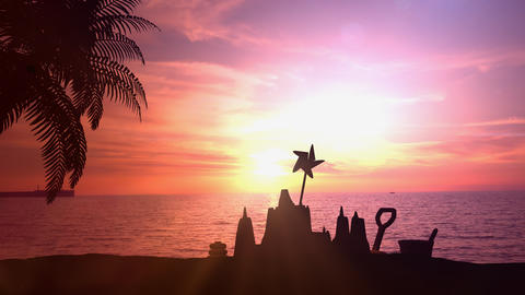 Sand castle on a background of sea sunset Live Action