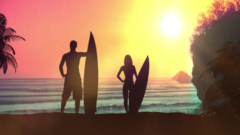 Silhouettes of surfers on a background of sunset in the ocean Animation