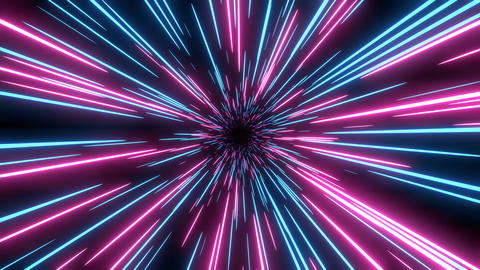 Blue and pink speed light abstract background. Loop able Sci-fi tunnel backdrop Animation