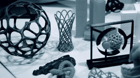 Colorful objects printed by 3d printer. Fused deposition modeling, FDM Live Action