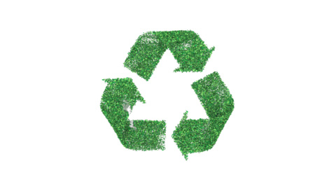 Recycling symbol appearing. 3d render with alpha channel Animation