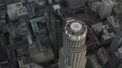 AERIAL: Beautiful Circling Overhead Birds View of Famous Skyscraper in Downtown Live Action