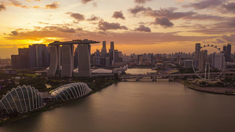 hyper lapse of Singapore City Skyline on sunset Live Action