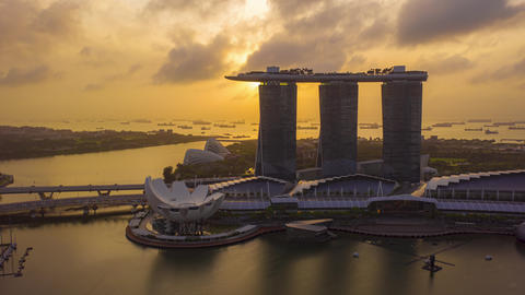 aerial view hyper lapse of Singapore City Skyline Live Action