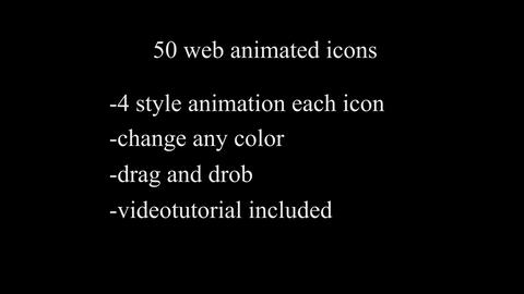50 web line Icon animations design elements set After Effects Template