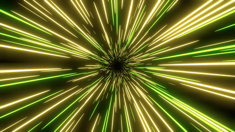Yellow and green speed light abstract background. Loop able Sci-fi tunnel backdrop Animation
