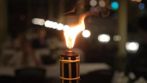 Burning kerosene torch. Open fire Live Action