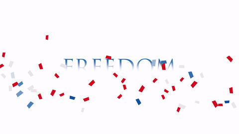 Animated closeup text Freedom on holiday background, Nation Day of USA Animation