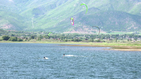 Wind surfing Deer Creek Reservoir lake mountain valley 4K Footage