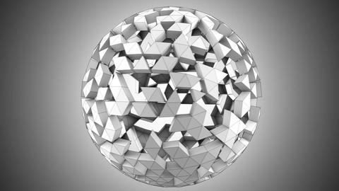 Grey polygonal spherical shape rotating loopable 3D render Animation